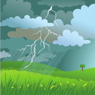 A storm in an open field